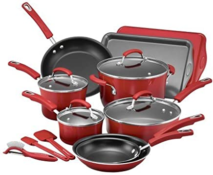 Rachael Ray 16-Piece Hard Porcelain Enamel Nonstick Cookware Set (Red Gradient)