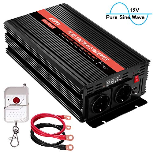 KRIPOL Pure Sine Wave Inverter 1000 Watt -12V DC to 220/230V AC Car Power Inverter with 2 AC Outlets & One 2.1AH USB Output-Wireless Remote and LED Display-Peak Power 2000W