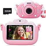Kids Camera for Girls Gifts Kids Digital Camera Children Selfie Toy Camera, 3.0 Inch Touch Screen Toddler Camera Kids Camcorder Video Recorder with 32G TF Card, Pink