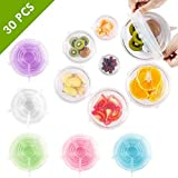 30 PCS 5 SET BUNDLE - Silicone Stretch Lids, Instalids, Food Huggers, 5 Colors 6 Sizes, Universal Sizes, Reusable Expandable Lids To Keep Food Fresh Great Gift Item