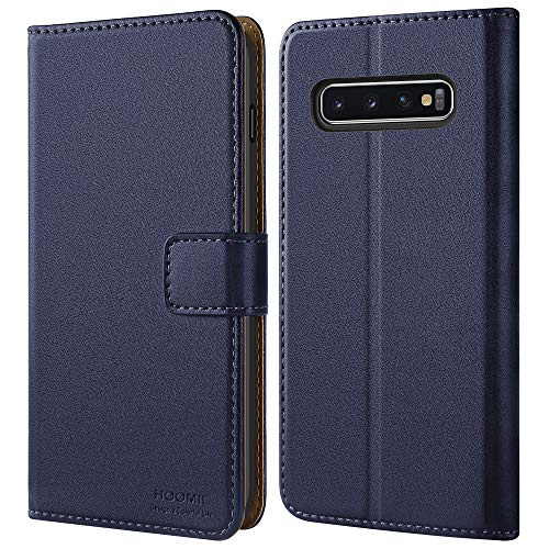 HOOMIL Handyhülle für Samsung Galaxy S10 Plus Hülle, Premium Leder Flip Schutzhülle für Samsung Galaxy S10 Plus Tasche, Blau