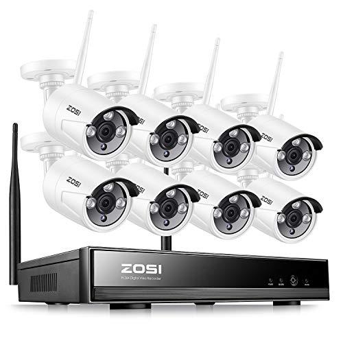 ZOSI Kit de Cámaras de Seguridad WiFi 960P Sistema de Vigilancia Inalámbrico 8CH HD Grabador NVR + (8) 1,3MP Cámara IP Exterior, sin Disco Duro, Visión Nocturna, Acceso Remoto en Móvil