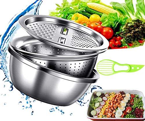 Kitchen Multipurpose Grater, 3 in 1 Multifunctional Stainless Steel Basin Vegetable Cutter for Salad Maker Bowl Drain Basin Basket and Washing Vegetables Fruits