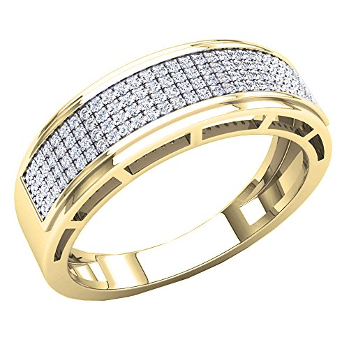 Dazzlingrock Collection 0.30 Carat (Ctw) 10K Round White Diamond Men's Hip Hop Wedding Band 1/3 CT, Yellow Gold, Size 8