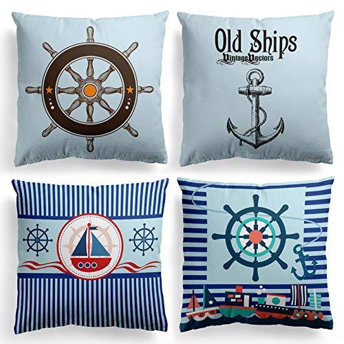 MIULEE Juego de 4 Ante Cojines Marineros Sailor Series Funda de Cojín Almohada Caso de Decorativo Cojines para Sala de Estar sofá Cama18 x18 Pulgadas 45x45cm