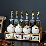 Botes especias Porcelana blanca condimento tarros y aceite Botellas de cristal Set con doble capa portante de madera, de contenedores con tapas y cucharas for Spice condimento salsa, de 14 piezas Set