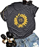 Sunflower Graphic Tee Top T Shirt for Womens Short Sleeve Graphic Casual T Shirts Tee Top Dark Gray