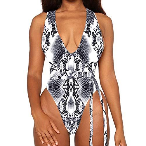 Bikini Gradient Jumpsuit Swimsuit Women Vintage Swimwear Cross Back Snake...