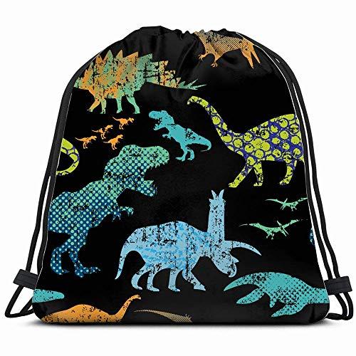 Dino Print Tshirts textiel Samenvatting dinosaurus rugzak met trekkoord gymnastiekzak voor meisjes kinderen kinderen reistas schoudertas verjaardagscadeau voor dochter kinderen dames 14 x 17 inch