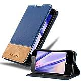 Cadorabo Hülle für Nokia Lumia 550 in DUNKEL BLAU BRAUN – Handyhülle mit Magnetverschluss, Standfunktion & Kartenfach – Hülle Cover Schutzhülle Etui Tasche Book Klapp Style