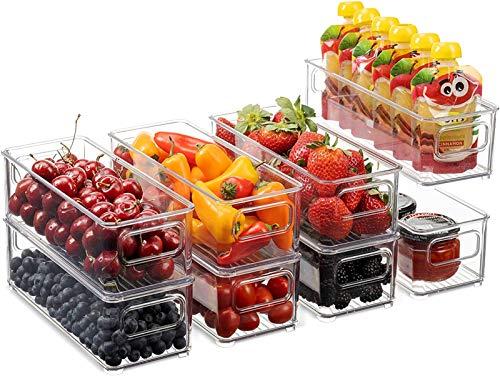 Conjunto de 8 contenedores de almacenamiento de alimentos de plástico apilables - Organizador de refrigerador con asas para despensa, nevera, congelador, cocina, encimeras, armarios - Borra de plástic