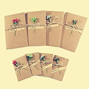 ZeWoo 8 Pcs Greeting Card, 4 Pcs Large + 4 Pcs Small Glass Flower Decorated Postcard, Handmade Retro Kraft Paper + Blank Envelopes for Special Person and Important Occasion (Glass Flower)