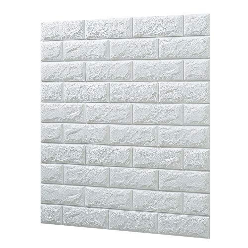 3D立体壁紙 DIYレンガ調壁紙シール 70x77CM ウォールステッカー 軽量レンガシール 壁紙シール 自己粘着 防水 多色選択 (70*77cm(10枚入れ), パールホワイト)