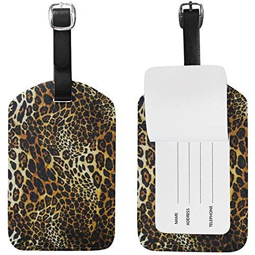 Etiqueta de Viaje Animal Leopard Print Etiqueta de Equipaje Etiqueta de identificación Etiqueta de Mano para Maleta de Equipaje Juego de 2