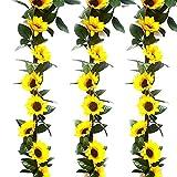 HUAESIN 3pcs Guirnalda de Flores Artificiales Girasoles 2m Enredaderas de Plastico con 10 Cabeza de Girasol Artificial Amarillo para Exterior Interior Jardinera Balcon Terraza Boda Fiesta Pared