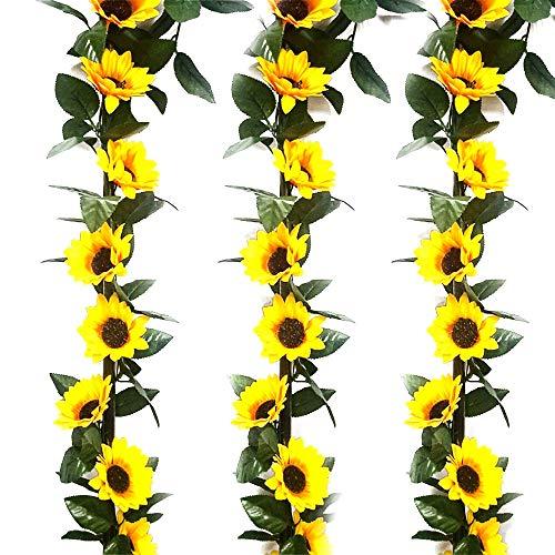HUAESIN 3pcs Guirnalda de Flores Artificiales Girasoles 2m Enredaderas de Plastico con...