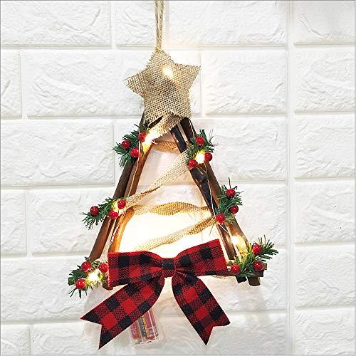 UXZDX CUJUX Christmas Hang Decoration LED Lights Snowman Christmas Wreath Rattan Circle Door Home Christmas Tree Decoration (Size : Style 2)