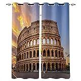 ASNIVI Cortinas opacas, paisaje antiguo Coliseo de Roma, 5 x 80 x 150 cm, cortina de ventana con aislamiento térmico y ojales para dormitorio, sala de estar, privacidad, juego de 2 cortinas P