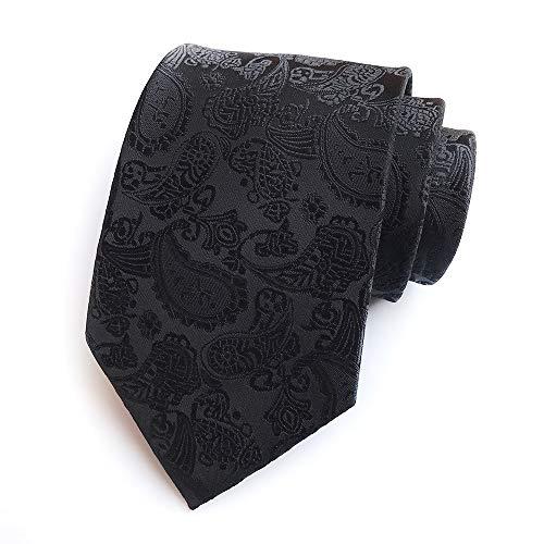 Chris Vu Krawattenset in Schwarz mit Manschettenknöpfen, Krawattennadel und Einstecktuch, feines Paisleymuster auf dunklem Grund