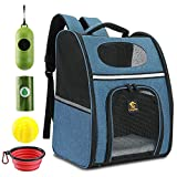 Cosydot Pet Backpack Carrier for Small Dog Cat Puppy Bird Rabbit Traveling Hiking Outdoor Use,Ventilated Design,Thick Strap,Three Sided Entry with Collapsible Bowl,Waste Bag & Dispenser,Chew Toy