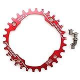 CYSKY Schmale Breite Kettenblatt 104BCD 30T Fahrrad Einzelkettenblatt für 9 10 11 Geschwindigkeit, Perfekt für die meisten Fahrrad Rennrad Mountainbike BMX MTB (Rot)