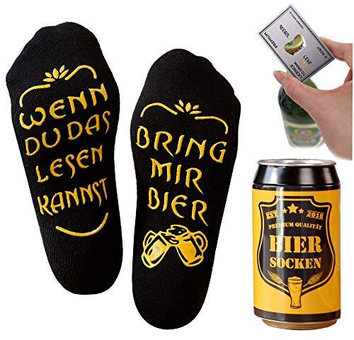 Bier Socken Herren + Flaschenöffner aus Edelstahl, Bier Geschenke für Herren, Geburtstagsgeschenk für Männer, Wenn Du das Lesen Kannst bring mir Bier (Schwarz Biersocken + Kreditkartenöffner Silber)