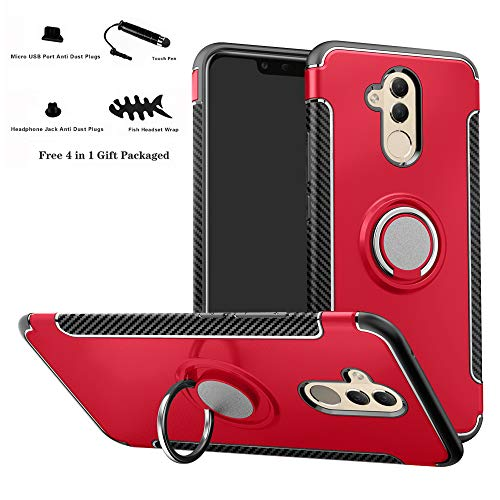 Labanema Mate 20 Lite Funda, 360 Rotating Ring Grip Stand Holder Capa TPU + PC Shockproof Anti-rasguños teléfono Caso protección Cáscara Cover para Huawei Mate 20 Lite - Rojo