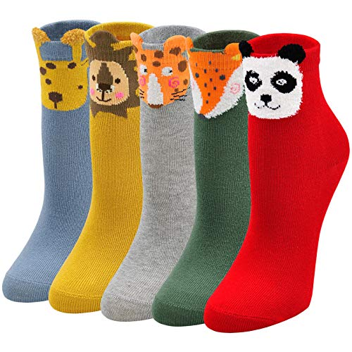 ZAKASA Kinder Sneaker Socken Jungen und Mädchen Baumwolle Kindersocken Bunt Panda Löwe Tier Cartoon Sneakersocken Sportsocken 2-4 Jahre 5 Paar