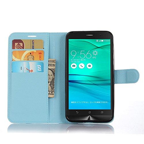 Tasche für Asus ZenFone Go ZB551KL (5.5 zoll) Hülle, Ycloud PU Ledertasche Flip Cover Wallet Hülle Handyhülle mit Stand Function Credit Card Slots Bookstyle Purse Design blau