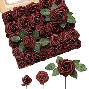 DerBlue 60pcs Three Different Sizes Artificial Roses Flowers Foam Roses Bulk w/Stem for DIY Wedding Bouquets Corsages Centerpieces Arrangements Baby Shower Cake Flower Decorations(White)