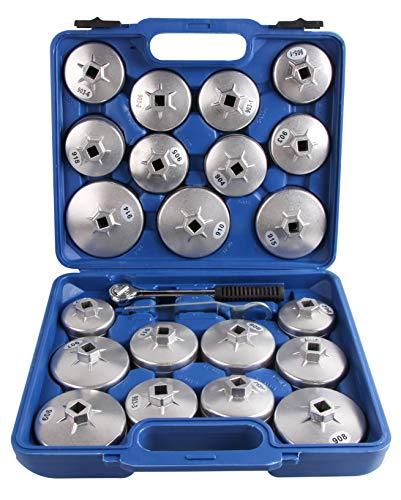 KFZTEILESCHNELLVERSAND24 Set Alu Ölfilterkappen Satz Ölfilterschlüssel Druckguss 23tlg Ölfilter-Werkzeug