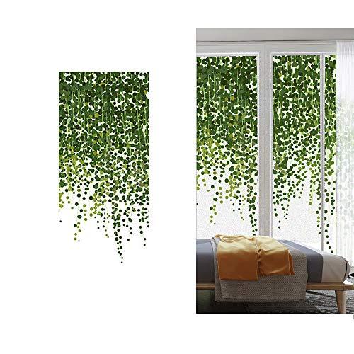窓 めかくしシート 窓用フィルム おしゃれ 装飾フィルム 目隠しフィルム ステンドグラスフィルム すりガラス調 窓ガラスフィルム 窓断熱フィルム 自然風 植物 緑葉 遮光 水で貼れる