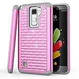 LG Stylus 2 Plus Case, LG Stylo 2 Plus Case, TILL Studded Rhinestone Crystal Bling Shock Absorbing Hybrid Defender Rugged Slim Case Cover for LG G Stylo 2 Plus MS550 K530 K535 [Pink]