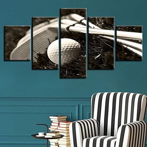 Uhgkt 5 schilderijen op canvas, HD, bedrukt, motief: Golf Club Modular en golfbal, afbeelding op canvas, wanddecoratie voor slaapkamer kunst in wit en zwart