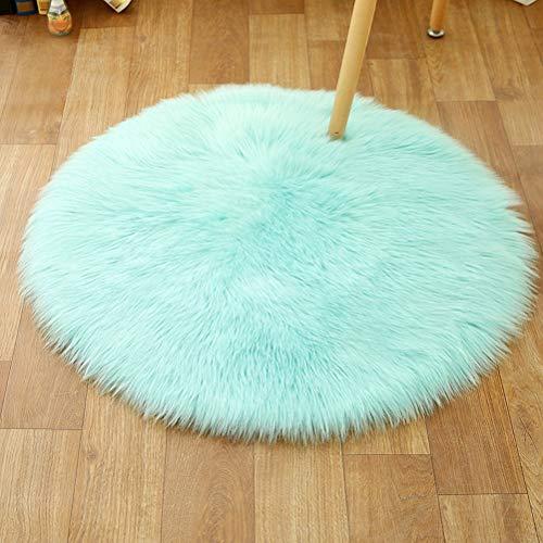 ZHHAOXINPA leicht Waschbarer Wollteppich, Blauer Teppich, geeignet für Schlafzimmerteppich, Heimdekoration, Kindergartenteppich, runder Kinderteppich 180 cm Wasserdicht