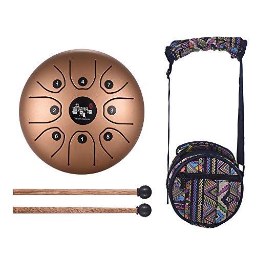 Muslady Stahlzunge Trommel Hand Pan Trommel 5,5 Zoll Mini 8-Ton C Schlüssel Perkussion Instrument mit Schlagzeug Schlägel Tragetasche Gold