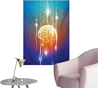 Anzhutwelve Fantasy Home Decor Wall Stream of Binary Digits Leaking from Abstract Brain Mental Creativity Theme PrintMulticolor W32 xL36 Custom Poster