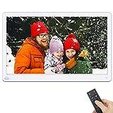 Cornice Digitale, Rokurokuroku 15 Pollici Full HD 1080P IPS Cornice Foto Digitale Elettronico per la Riproduzione di Foto, Video, Musica, Telecomando, Sensore di Movimento, blanco