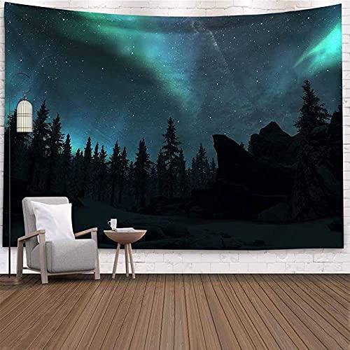 Paisaje natural cielo estrellado bosque árbol tapiz colgante de pared hippie revestimiento de pared tapiz psicodélico manta psicodélica A1 180x200cm