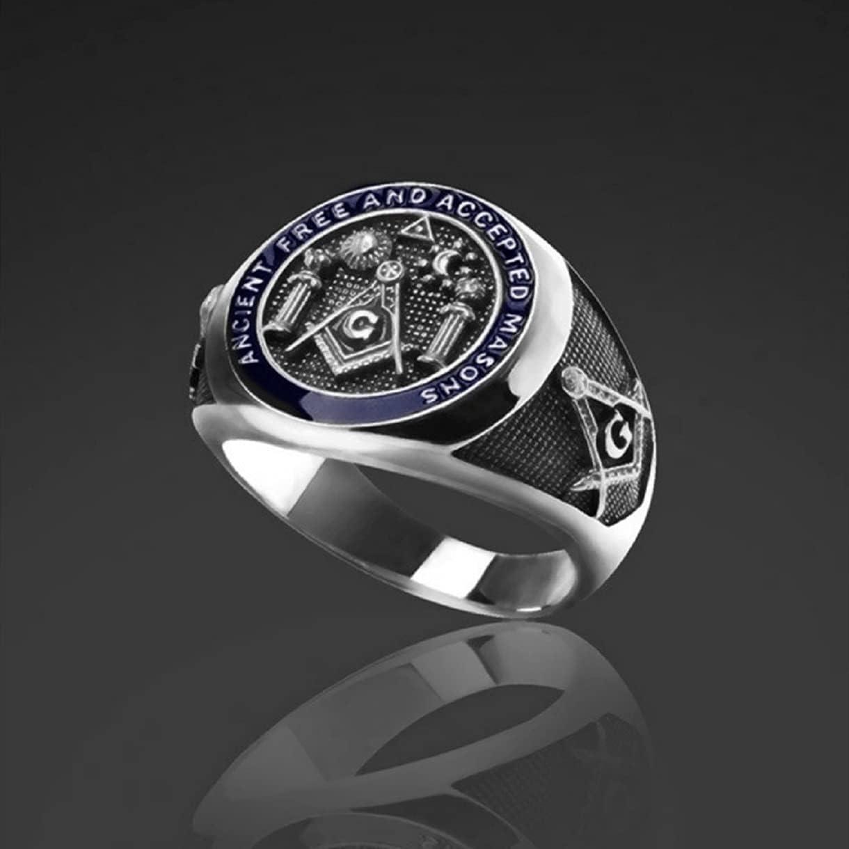 Punk Masonic Ring for Men, Gothic Freemason Ring Hip Hop Vintage Masonic Freemason Ring for Boys