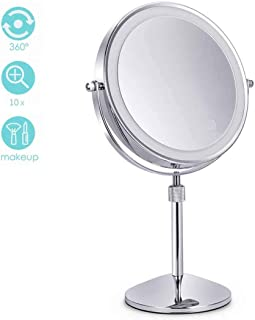 Makeup Mirror Double-Sided Lighted Makeup Mirror, 8 Inch Lighted Vanity Mirror, 1x/10x Magnifying With Stand, Battery Operated, Natural White Light, with Dimmable Lights Adjustable Height for Desk Hom