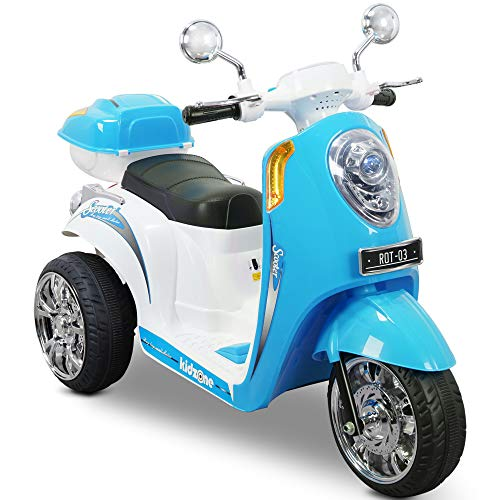 Kidzone Ride On Scooter 6V Toy Battery Powered Electric 3-Wheel Power Bicyle W/ Music, Horn, Headlight, Purple