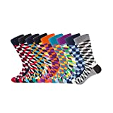 TRIWORIAE - Pack de 9 Paires de Chaussettes Colorées Fantaisie pour Hommes Coton Peigné 41-46EU
