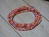 Bau[m]werk Handmade in Germany Schmuck Armband Glasperlen Perlen Kette Halskette Handarbeit Wickelarmband orange silber pink Hippie Boho Ibiza Style Kette Fukettchen