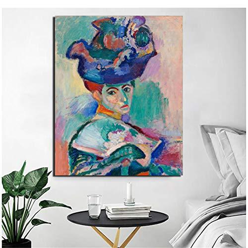 Sanwooden Henri Matisse Frau mit Hut Leinwand Malerei Druck WohnzimmerWohnkulturModerneWandkunstÖlgemälde Poster Bild-50x70cm Kein Rahmen