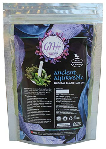 Go Natural GN Ancient Ayurvedic Herbal Mix for Black Hair | Natural black | Herbal black hair color | Organic herbal hair color black | Home made | Hair color | 100 gram