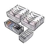Set di 3 scatole per biancheria intima, per riporre calzini, reggiseni, mutande pieghevoli, cassetti, armadietti, organizer per vestiti con scomparti per le donne (spessore grigio, 3 set+reggiseno)