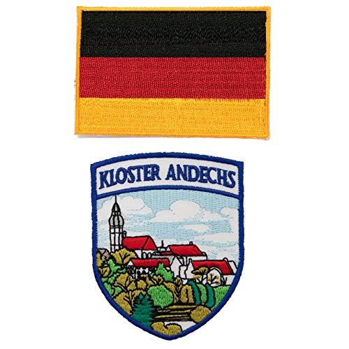 A-ONE 2 Stück Packung Kloster Andechs Aufnäher + Deutschland-Flagge Hot Leathers Patch zum Aufbügeln bestickt mit Heißsiegel-Rückseite, Länderflaggen-Abzeichen, Wahrzeichen