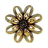KingbeefLIU Vintage Mujer Chal De Flores 3 Anillos Hebilla Bufanda Clip Broche Pin Regalo De La Joyería Broche Personalizado Simple Y Elegante Pin Pequeño Juguetón Animado Y Encantador Dorado