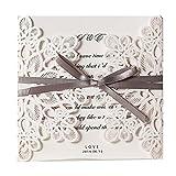 WISHMADE 50X Kit di biglietti per inviti di nozze with Bowknot Ivory Laser Cut Floral Design for Marriage Birthday Party Graduation wm207